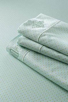 No Iron Sateen Tile Print Sheet Set or Pillowcase from Lands' End