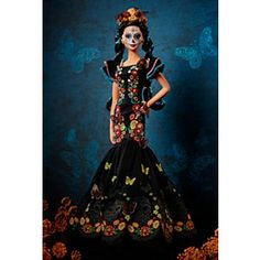 Celebrate with a collectible Barbie Dia De Muertos Doll featuring an embroidered dress and a sugar skull painted face. Explore more signature dolls at our Barbie Shop today! Barbie Shop, Barbie Dolls, Disney Dolls, Appropriation Culturelle, Sugar Skull Painting, Theme Halloween, Signature, Doll Stands, Fashion Painting