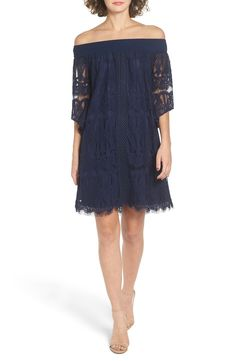 Trixxi Lace Off the Shoulder Shift Dress available at #Nordstrom