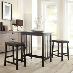 TRIBECCA HOME Nova Black 3-piece Kitchen Counter Height Dining Set | Overstock™ Shopping - Big Discounts on Tribecca Home Dining Sets