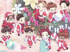 Unfair christmas by 홍시 on FanBook Sehun And Luhan, Exo Chanyeol, Kpop Exo, Exo Cartoon, Bts Christmas, Exo Fan Art, Kim Jongin, Christmas Drawing, Kpop Fanart