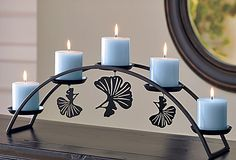 With the look of wrought iron, the striking black metal frame stands alone; or attach the magnetic hooks under the candle wells to hang seasonal ornaments. Wrought Iron Candle Holders, Wall Candle Holders, Candle Stand, Candle Wall Sconces, Candlestick Holders, Candlesticks, Beautiful Candles, Best Candles, Wooden Christmas Crafts