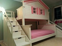 Twin over full house bunk bed with storage drawer stairs & a slide