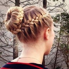 Summer Braided Bun Hairstyles for Women Hair styles Braided Bun Hairstyles, Dance Hairstyles, Cute Hairstyles, Straight Hairstyles, School Hairstyles, Braided Ponytail, Updo Hairstyle, Everyday Hairstyles, Braided Buns
