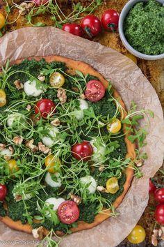 Süßkartoffelpizza mit Bärlauchpesto und Brunnenkresse von den [Foodistas] - Sweet Potatoe Pizza - http://foodistas.de/