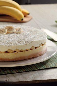 Tarta de plátano y chocolate blanco