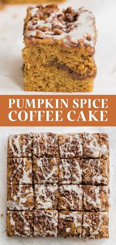 Pumpkin Spice Coffee Cake features a moist sour cream pumpkin cake loaded with brown sugar cinnamon streusel and topped with a maple glaze. The best easy homemade recipe great for a crowd for a special fall, Thanksgiving, or Halloween breakfast treat! #coffeecake #pumpkincoffeecake #pumpkinspice Pumpkin Coffee Cakes, Pumpkin Spice Coffee, Spiced Coffee, Pumpkin Dessert, Fall Desserts, Just Desserts, Delicious Desserts, Fall Baking, Holiday Baking
