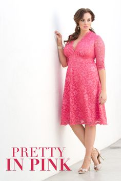 Flatter your curves in our plus size Mademoiselle Lace Dress. From cocktail parties to formal or evening events, this special occasion lace dress will have all eyes on you. With gorgeous scalloped lace and classic A-line skirt, you'll feel as exquisite as you look. #kiyonna #dresses