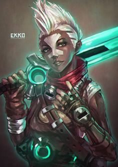 Ekko by MonoriRogue female fighter rogue cyberpunk future mercenary armor clothes clothing fashion player character npc | Create your own roleplaying game material w/ RPG Bard: www.rpgbard.com | Writing inspiration for Dungeons and Dragons DND D&D Pathfinder PFRPG Warhammer 40k Star Wars Shadowrun Call of Cthulhu Lord of the Rings LoTR + d20 fantasy science fiction scifi horror design | Not Trusty Sword art: click artwork for source