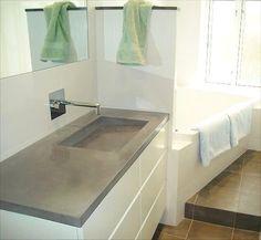 40 mm vaskebordplade med integreret vask model ALBA SQ-1, betonfarve #3003