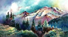 Mount Rainier Through the Trees - Original watercolor painting by Michael David Sorensen