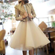 Tulle Skirt Tea length Tutu Skirt tulle tutu Princess Skirt Wedding Skirt in Nude / black Color on Etsy, $38.99