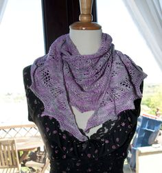 Handknitted Semi Circle Shawl in Hand-dyed Yarn in Pink and Grey by KnitterScarlet on Etsy