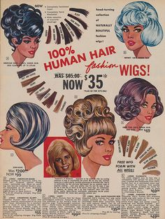 Human Hair Wigs Page 9 of the Christmas 1965 Frederick's of Hollywood catalog. Vintage Advertisements, Vintage Ads, Vintage Images, Vintage Posters, Retro Advertising, False Advertising, Retro Ads, Vintage Pictures, Vintage Prints