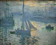 Sunrise, Seascape by Claude Monet in oil on canvas, done in Now in a private collection. Find a fine art print of this Claude Monet painting. Monet Paintings, Impressionist Paintings, Landscape Paintings, Impressionism Art, Claude Monet, Pierre Auguste Renoir, Edouard Manet, Monet Poster, Artist Monet