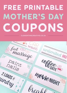 Mother's day coupons - Free printable gift tags - Mother's day printables - Free birth, printable tags for mother's day day printables day printables for preschoolers day printables free day free printable cards Mother's Day Coupons, Gift Coupons, Love Coupons, Birthday Coupons, Free Birthday, Birthday Board, Mother's Day Printables, Diy Mothers Day Gifts, Mom Gifts