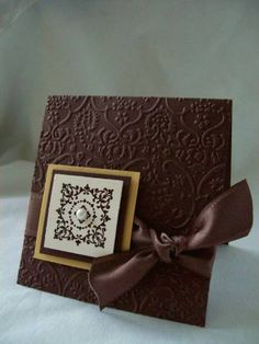 Stunning Brown Embossed Card...with satin ribbon bow...Simple Delights (Simply Sent Kit).