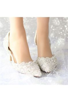 Lace Wedding Shoes Pearls Bridal shoes High Low Heels flat shoes ...