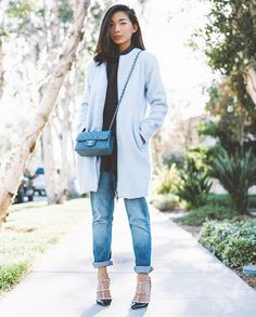 winter outfit trend: pastel blue coats   StyleCaster