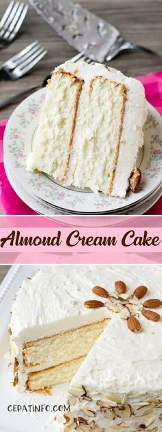 Light, moist and velvety, this Almond Cream Cake has a homemade cooked, whipped frosting that pairs perfectly with the almond cake. Decorate the cake simply with sliced almonds. No Bake Desserts, Just Desserts, Delicious Desserts, Cupcakes, Cupcake Cakes, Japanese Sweets, Oreo Dessert, Almond Cream Cake Recipe, Healthy White Cake Recipe