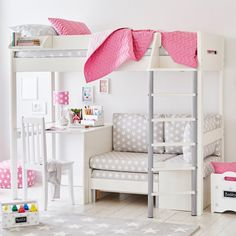 This stunning, wooden high sleeper bed has a spacious desk AND a cosy nook that turns into a sofa bed faster than you can say the word sleepover.