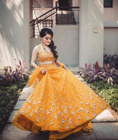 Most Loved Yellow Bridal Lehenga Designs For Weddings In 2020 Indian Bridal Outfits, Indian Designer Outfits, Indian Dresses, Bridal Dresses, Designer Dresses, Mehendi Outfits, Indian Clothes, Party Dresses, Wedding Dress