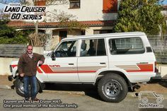 Laurent and his freshly restored Land Cruiser HJ61. One proud member of the Buschtaxi Family.  #buschtaxi #landcruiser #60series #hj61 #toyota
