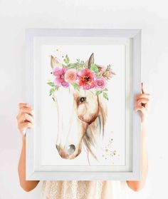 Our beautiful, hand painted Horse is the perfect addition to a nursery or childs… Horse Flowers, Name Canvas, Watercolor Horse, Equestrian Decor, Childs Bedroom, A3 Size, Little Girl Rooms, My New Room, Beautiful Horses