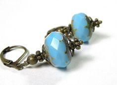 Vintage Style Azure Blue Czech Glass Earrings Sky Blue