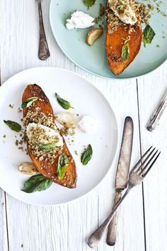 roasted sweet potato with greek yogurt, crispy zaatar & sumac