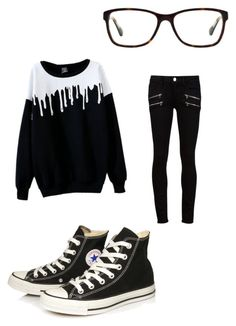 """""""Black and white #2"""" by davinaespinosa ❤ liked on Polyvore featuring Coach, Converse and Paige Denim"""