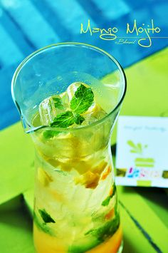 Beat the summer heat with Pastel Mojito without alcohol. If you dont know how to make it, just come here and our Barista will show you how. Here is the trick :  1 tablespoon mango purée (recipe follows) 1 tablespoon sugar 1/2 lime 4 fresh mint leaves, soda, mango into brunoise, and brushed ice !!!