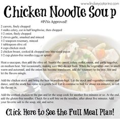 Check out this *delicious* recipe for Chicken Noodle Soup - part of my fall inspired PiYo meal plan! Read more: http://lindseycatarino.com/piyo-meal-plan-fall-edition/