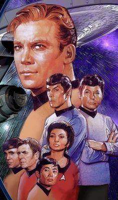 Star Trek TOS crew---the Magnificent Seven! Star Trek Wallpaper, Star Trek 1, Star Trek Original Series, Star Trek Series, Star Trek Beyond, Star Trek Enterprise, Gi Joe, Science Fiction, Graffiti Kunst
