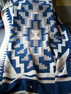 "Vintage Guatamalan Rug. Native Blanket or Bedspread. Handwoven 100% Cotton 61"" x 7' - Sturdy Heavy & Spectacular"