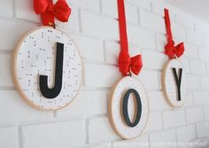 JOY Embroidery Hoop Ornaments   Christmas Mantel