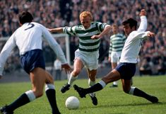 """Jinky"" Jimmy Johnstone in action with jersey of Celtic FC Burton Albion, Bryan Robson, Hampden Park, Bradford City, Oxford City, Charlton Athletic, Celtic Fc, Tottenham Hotspur"