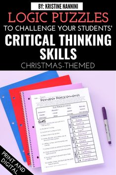 Christmas Logic Games and Brain Busters - Watch your 3rd, 4th, 5th, and 6th grade upper elementary students have so much fun with these puzzles this Christmas season. This download helps students review important math concepts and sharpen their critical thinking skills. Great for independent work or group work in December. *NOW DIGITAL* #UpperElementary #KristineNannini #LogicGames Logic Games, Logic Puzzles, Brain Busters, Critical Thinking Skills, Math Concepts, Group Work, Brain Teasers, Upper Elementary, Christmas Themes