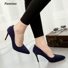 Famiao 2017 Sexy Ladies Stiletto Summer Spring Thin 9cm High Heel Party Wedding Shoes Woman Pointed Toe Less Platform Pumps