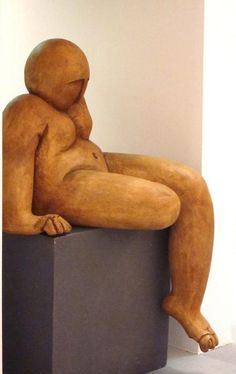 ceramic large naked sculpture of chubby sitting bald man 50 x 45 x 55cm Handmade unique ceramic Large fat naked sculpture of sitting bald man sculpture,  art three-dimensional art ceramic, home decor here you can select various sizes made in a small and family studio using traditional processes and committed to the en