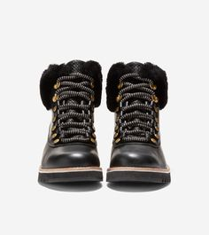 Women's ZERØGRAND Explore Hiker Boot in Black Leather | Cole Haan Apres Ski, Ski Fashion, Black Leather Boots, Cole Haan, Bootie Boots, Booty, Explore, Swag, Exploring