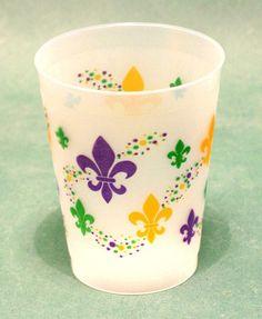 Multi Fleur de lis Mardi Gras cups (pk of 25) — Party Cup Express