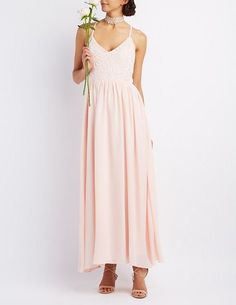 Pin for Later: These Bridesmaid Dresses Aren't Just Gorgeous — They're Also Under $100  Charlotte Russe Crochet & Chiffon Maxi Dress ($50)