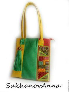 """Купить Сумка """"Стильное лето1"""" - комбинированный, сумка кожаная, красный желтый зеленый, сумка комбинированная"""