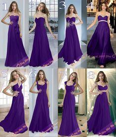 8 Types Cadbury Purple Chiffon Bridesmaids Dresses Evening Prom Gowns Size 6-26