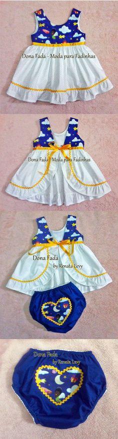 Vestido 6/9 meses com  tapa fraldas_______________baby - infant - toddler - kids - clothes for girls - - - https://www.facebook.com/dona.fada.moda.para.fadinhas/