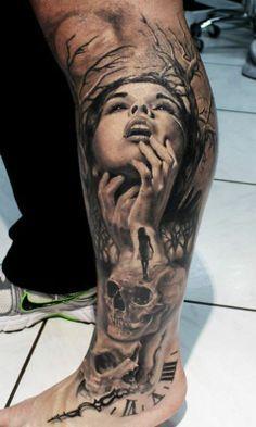 3d leg sleeve tattoo sketch designs for women