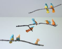 Bird Mobile - Blue / Orange / Yellow Fabric Birds - Made to order by SewnBuddies on Etsy https://www.etsy.com/listing/155549166/bird-mobile-blue-orange-yellow-fabric