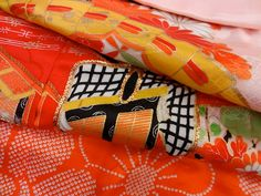 "Floral Japanese kimono fabric panel 9x38"""