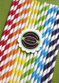 Paper Straws  BOYS Rainbow Stripes with by thebakersconfections, $5.00